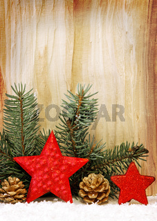 Christmas stars  decoration isolated on wooden.
