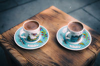 Retro style image of traditional turkish coffee