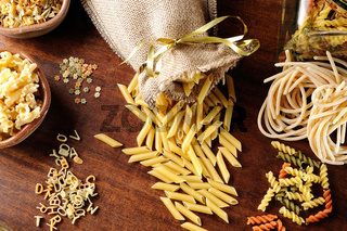 composition with various types of pasta top view