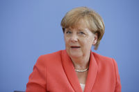 Merkel at Federal press conference in Berlin.