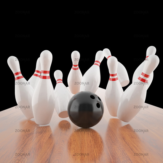 Illustration of a ball hitting the pins