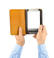 Hands with E-book reader