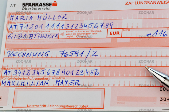 Austrian bank transfer form