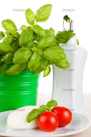 Mozzarella mit Tomaten, Basilikum und Olivenöl