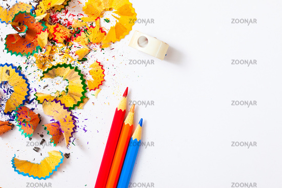 colored pencil, shavings and sharpener