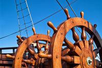 Double steering wheel of big sailing boat