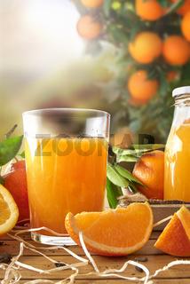 Glass of orange juice on a wooden in field vertical