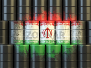 Iranian oil fuel energy concept. Flag of Iran painted on oil barrels