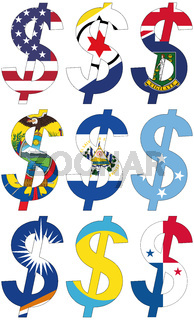 dollars with various flags - set