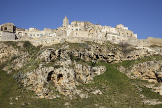 view over Matera from Torrente Gravina, Matera, Basilicata, Italy