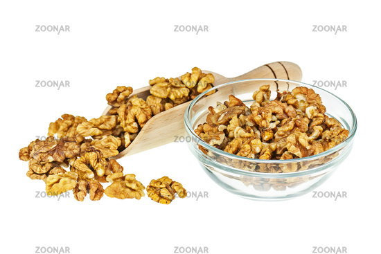 Handful of walnuts in scoop isolated on white background.