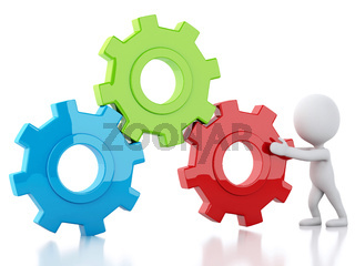3d White business people and gear mechanism