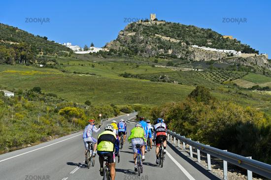 Bikers on a country road near Zahara de la Sierra, Andalusia, Spain
