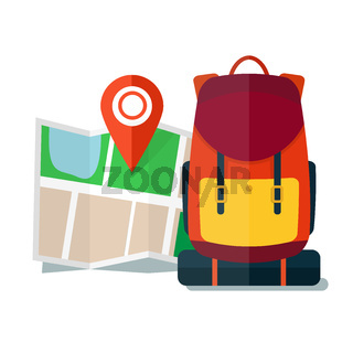 Travel Map with backpack.  Flat Icons, Tourist, Sightseeing, Journey, Inspiration and Concept
