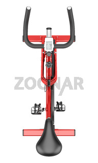 top view of stationary exercise bike isolated on white background