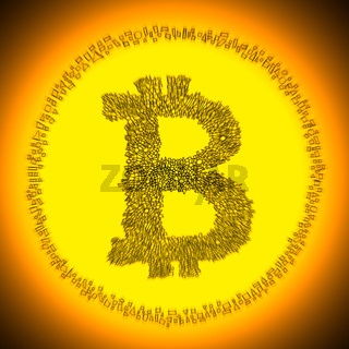 Golden Bitcoin crypto currency coin logo