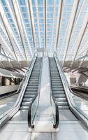 Empty modern escalators in the interior of subway station