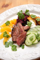 Duck Breast With Orange, Red Cabbage and Salad
