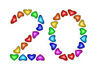Number 20 made of multicolored hearts on white background