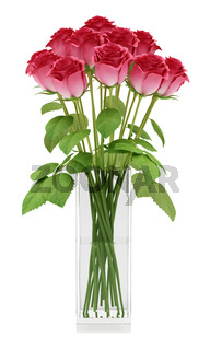 red roses in glass vase isolated on white background. 3d illustration