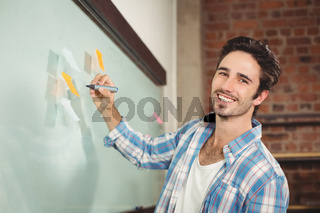 Portrait of smiling businessman holding marker in office