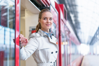 Woman in a train