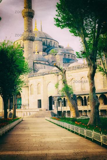 Vintage photo of Sultanahmet Blue Mosque architecture