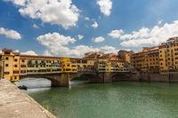 Bridge ponte vecchio in florence with river arno