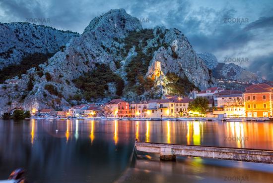 Old coastal town of Omis in Croatia at night