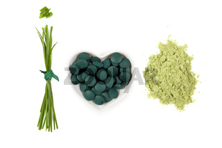 Chlorella, spirulina and wheatgrass.