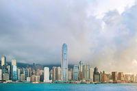 Skyline of Hong Kong island at sunset