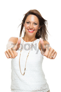 Stylish Woman in Showing Two Thumbs up Signs