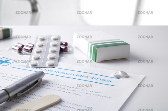 Guidelines and medical prescription with drug blisters elevated