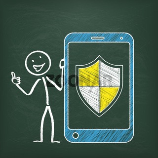 Blackboard Stickman Smartphone Protection Shield