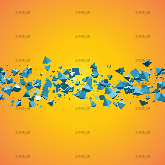 bright blue field of flying pyramids geometric abstract background with text copyspace