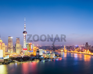 colorful bright shanghai by nightfall