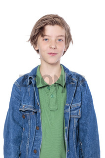 portrait of a handsome boy with denim jacket, isolated on white