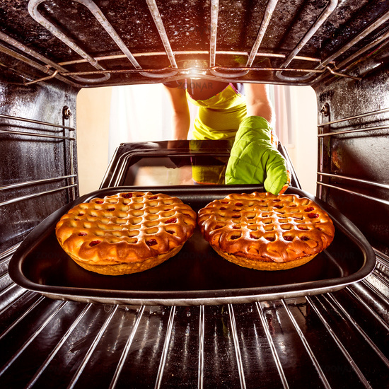 Cooking in the oven at home.