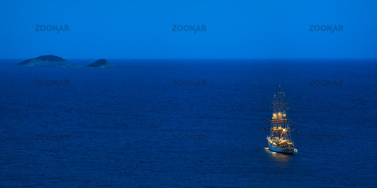 Sailboat Three Master runs out at night on the high seas in Dubrovnik