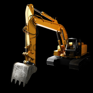 excavator in the dark studio