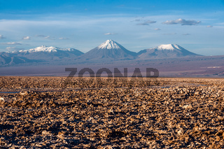 Volcanoes Licancabur and Juriques of Cordillera de la Sal, west of San Pedro de Atacama, Atacama desert of Chile