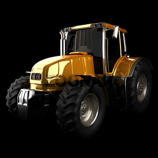 Agricultural tractor in the dark studio
