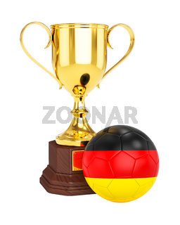 Gold trophy cup and soccer football ball with Germany flag
