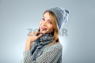 christmas girl, young beautiful smiling over blue