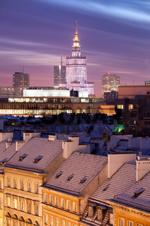 Warsaw Skyline at Dusk in Poland