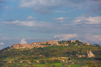 Village of montepulciano in tuscany upon a hill