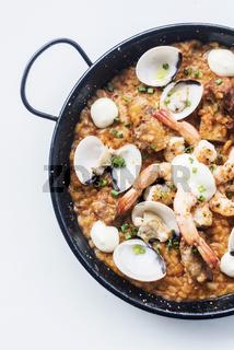 seafood and rice paella traditional spanish food