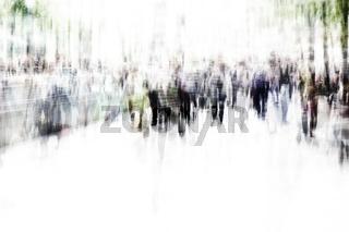 blurred city people walking