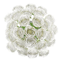 top view of roses in glass vase isolated on white background