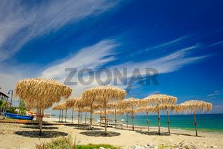 Reed umbrellas on the beach